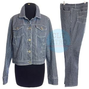 vtg Pinstriped Denim 2 pc Outfit